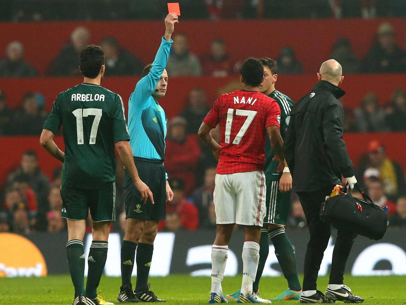 Nani is given his marching orders