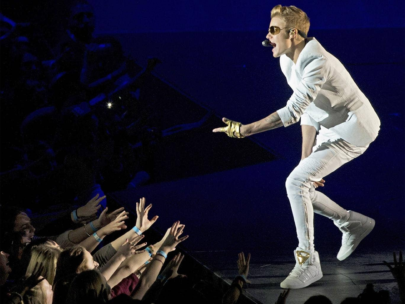 Bieber said nothing on-stage about Monday's fiasco