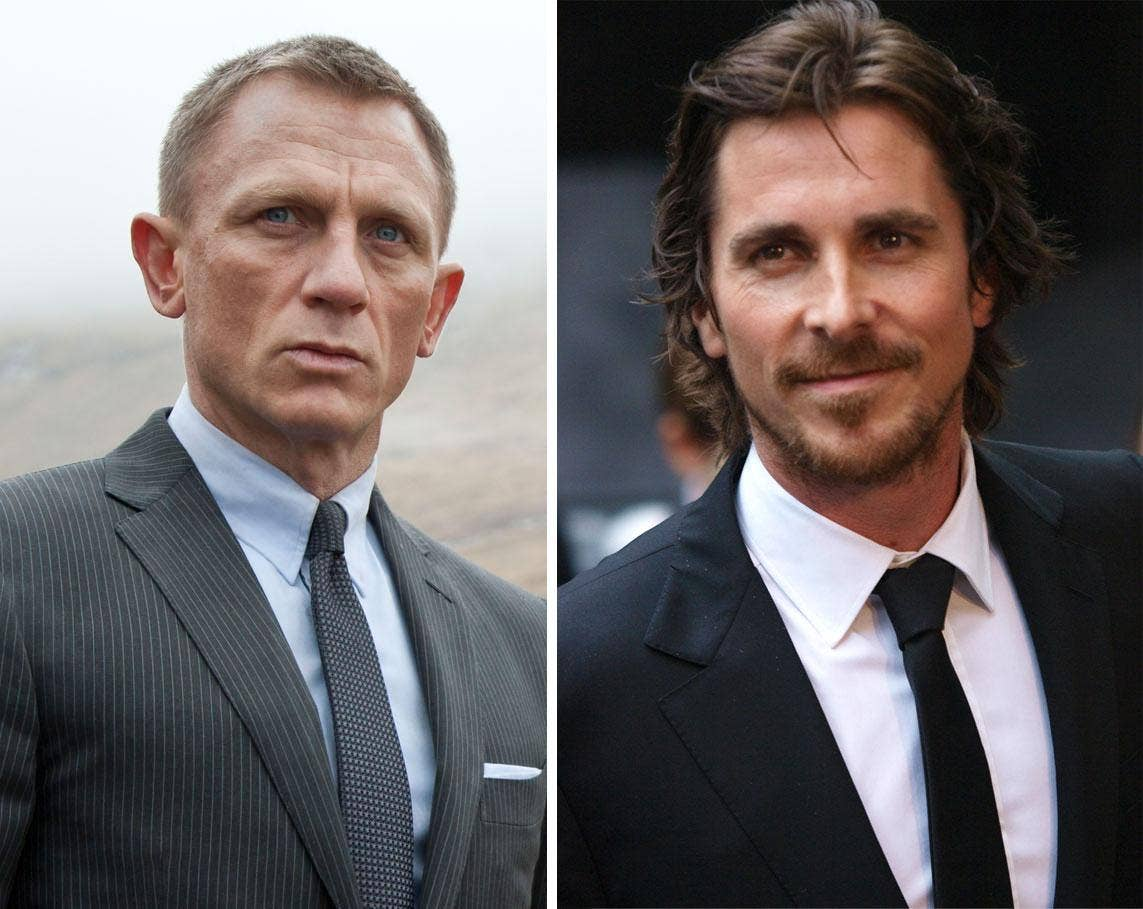James Bond versus Batman in MTV awards battle for the abs: Daniel Craig and Christian Bale square up for the fight