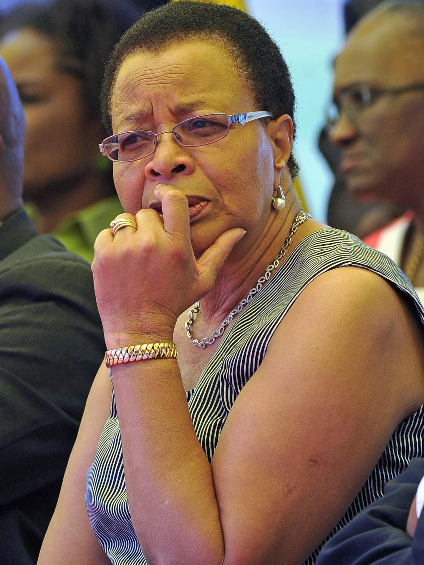 Graca Michel, wife of Nelson Mandela, attends the memorial service of Mido Macia