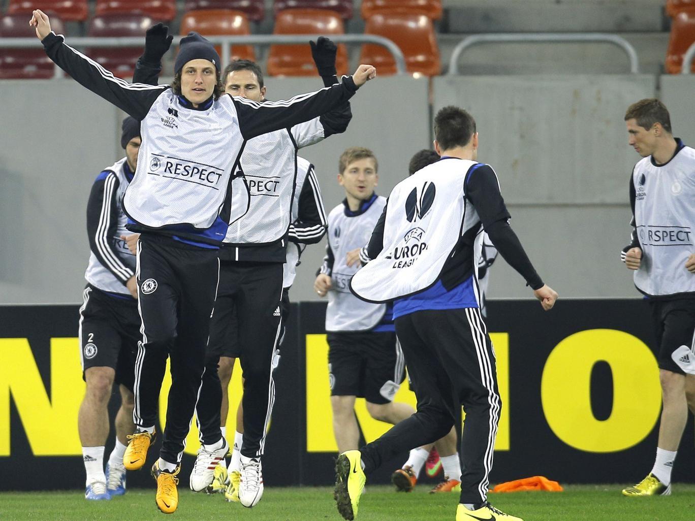Chelsea's David Luiz trains ahead of tonight's game in Bucharest
