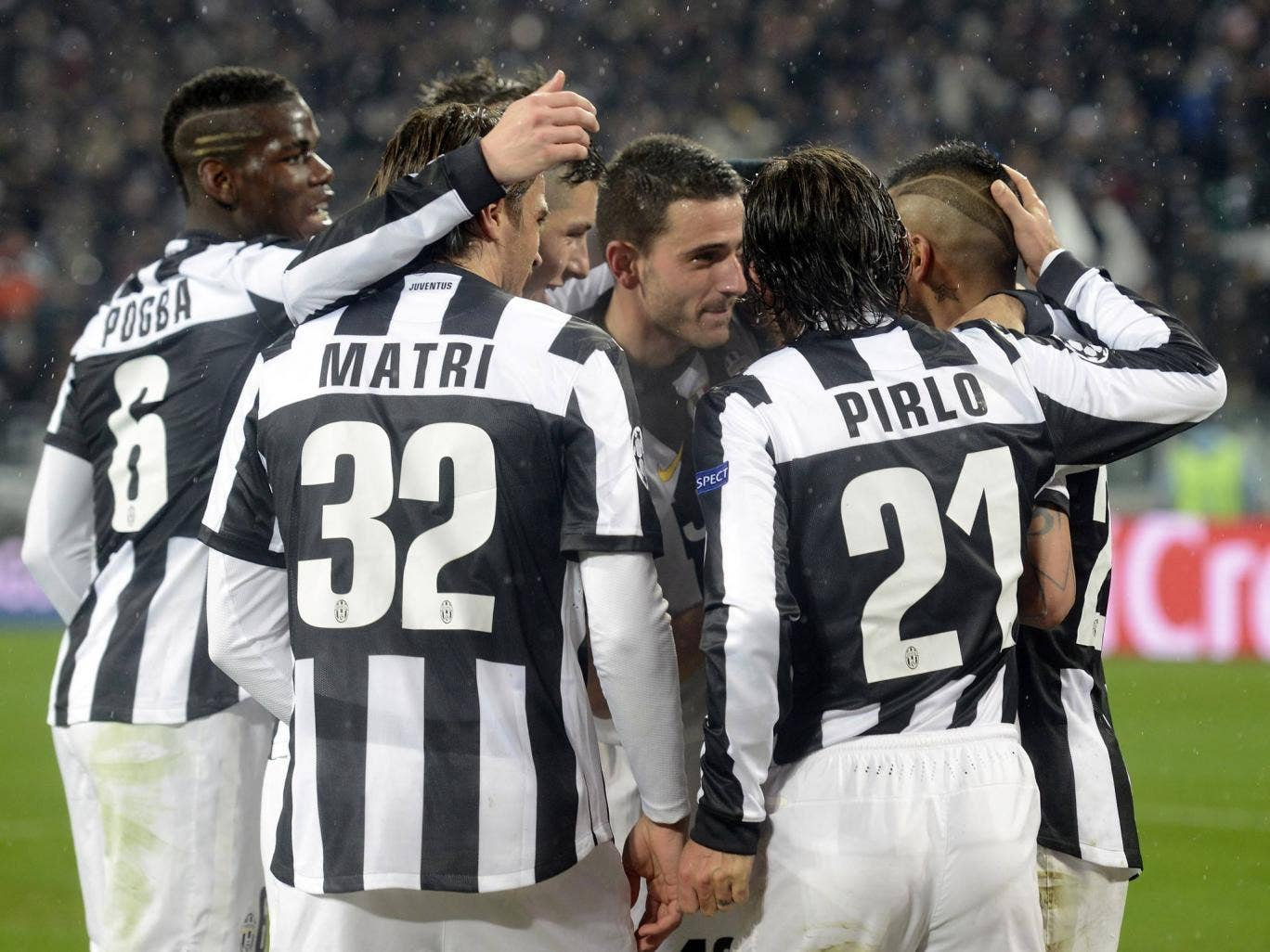 Andrea Pirlo and his Juventus team-mates celebrate during their victory over Celtic in the Champions League