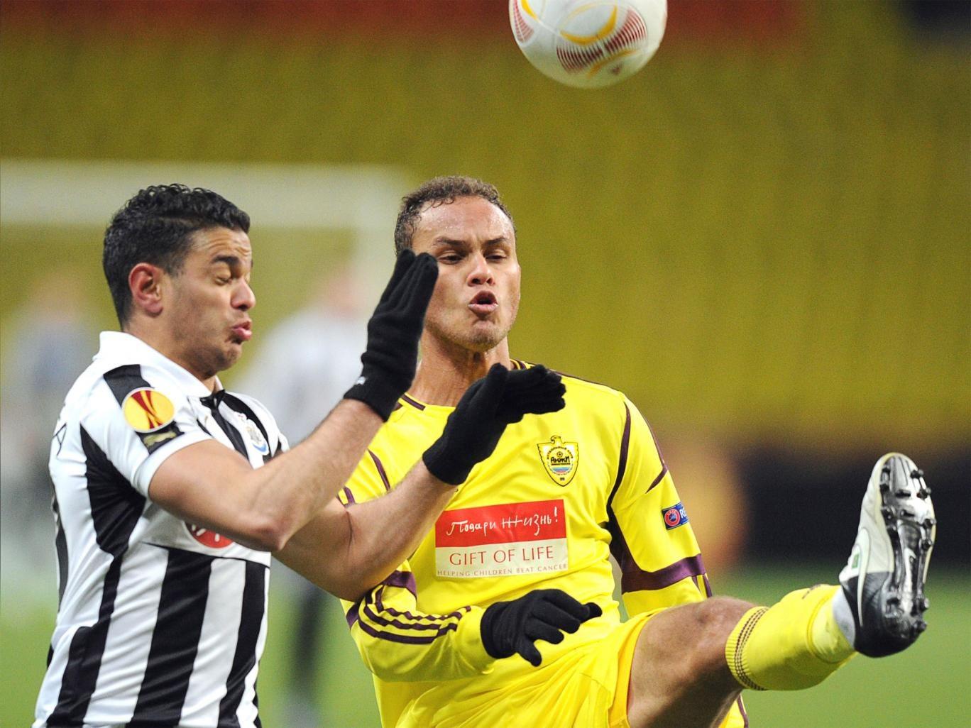 Anji's defender Ewerton vies with Newcastle's Hatem Ben Arfa