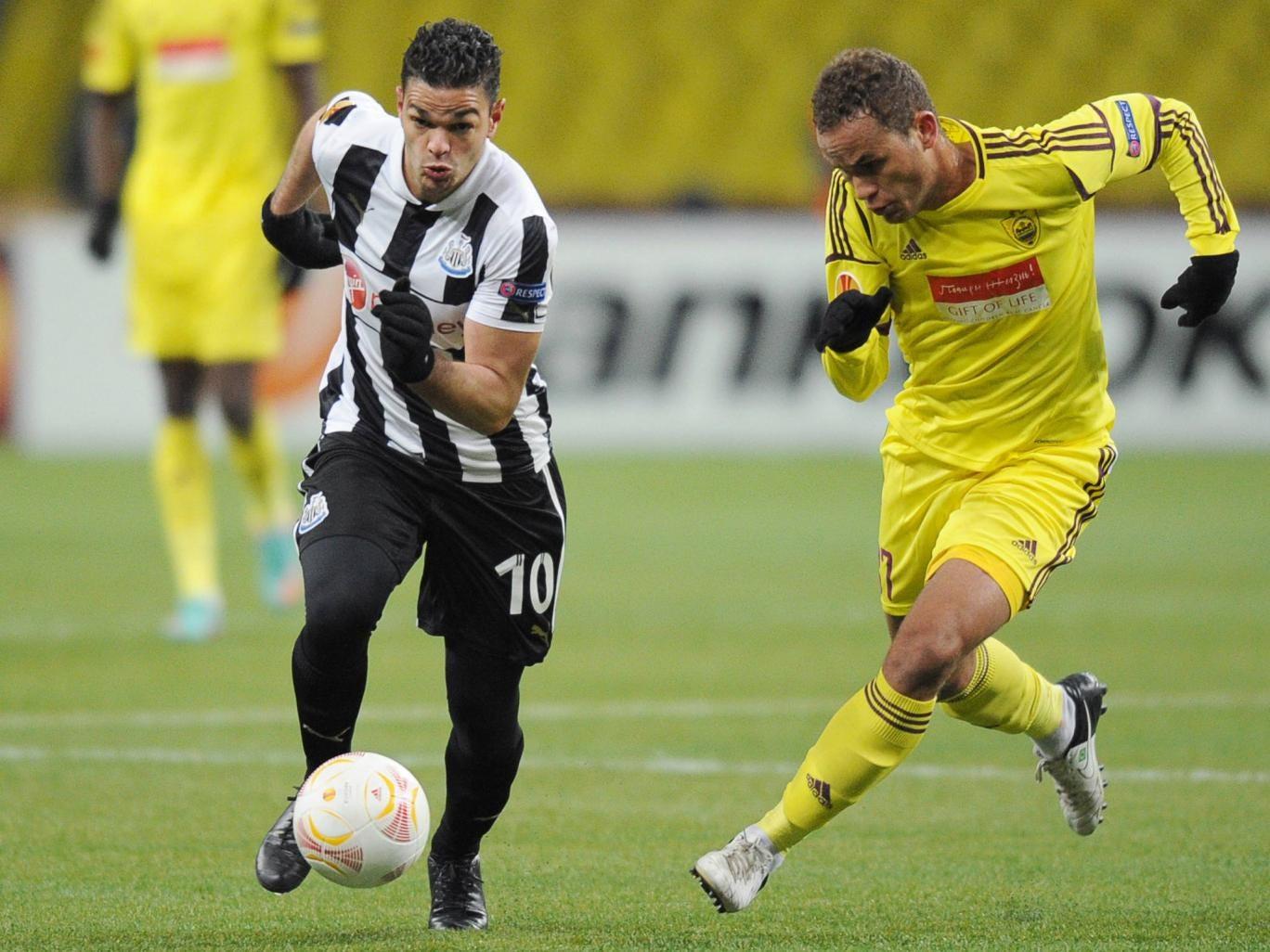 Newcastle midfielder Hatem Ben Arfa in Europa League action against Anzhi Makhachkala