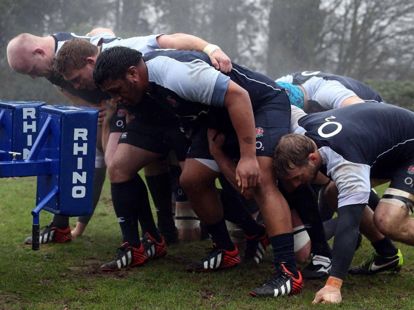 Final push: England's scrum get in some practice ready for two of the most important games in this emerging team's history
