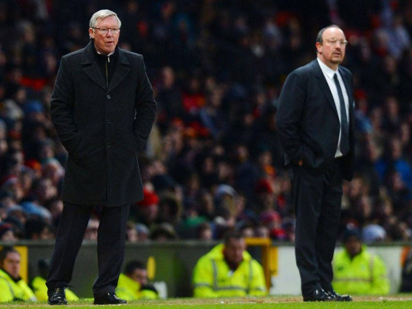 Rafael Benitez (right) poured scorn on Sir Alex Ferguson's claim that the exertions of playing Real Madrid caused Manchester United's collapse against Chelsea