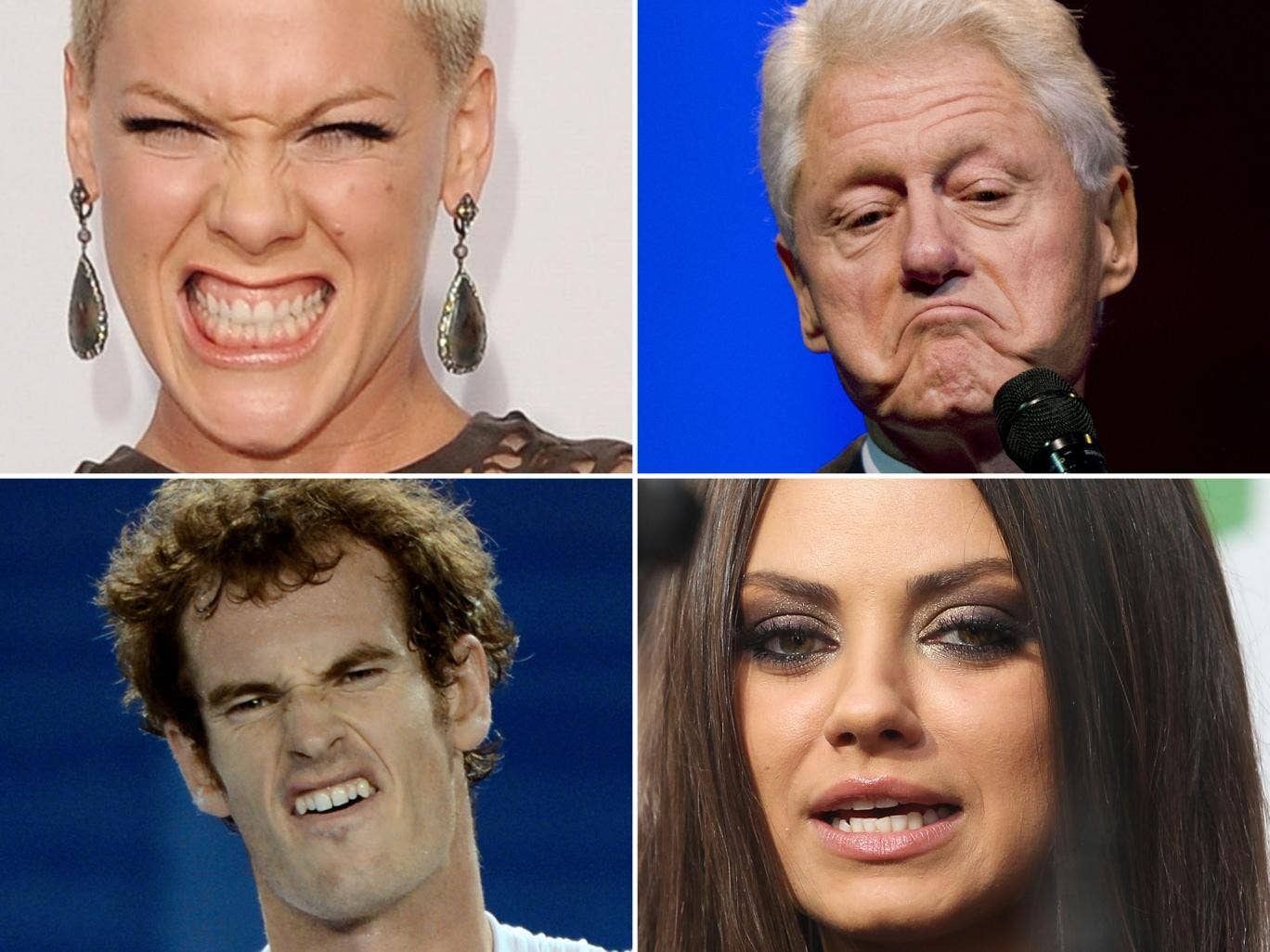Beautiful people are seen as good looking even if they distort their faces into grimaces of disgust, surprise, fear or anger - or that's the theory. Judge for yourself with Pink, Bill Clinton, And Murray and Mila Kunis