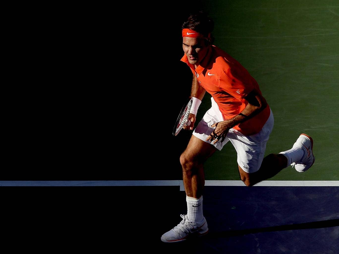Roger Federer in action at Indian Wells