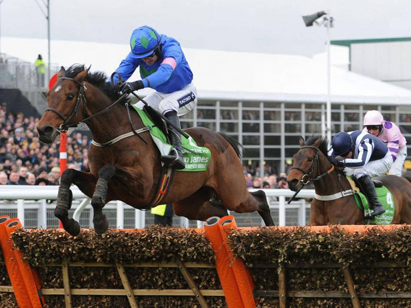 Hurricane Fly, with Ruby Walsh up, jumps the last flight on his way to victory in the Champion Hurdle