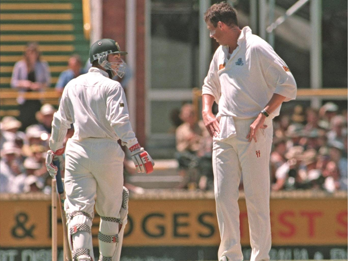 Exchanging pleasantries with Michael Slater at the Waca in 1995