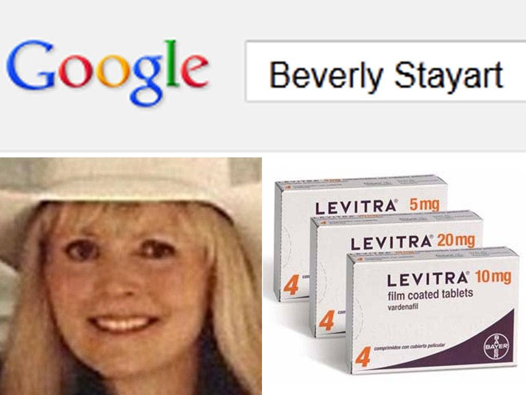Google and Yahoo! randomly juxtaposed Beverly Stayart's name with a number of drugs used to treat sexual dysfunction