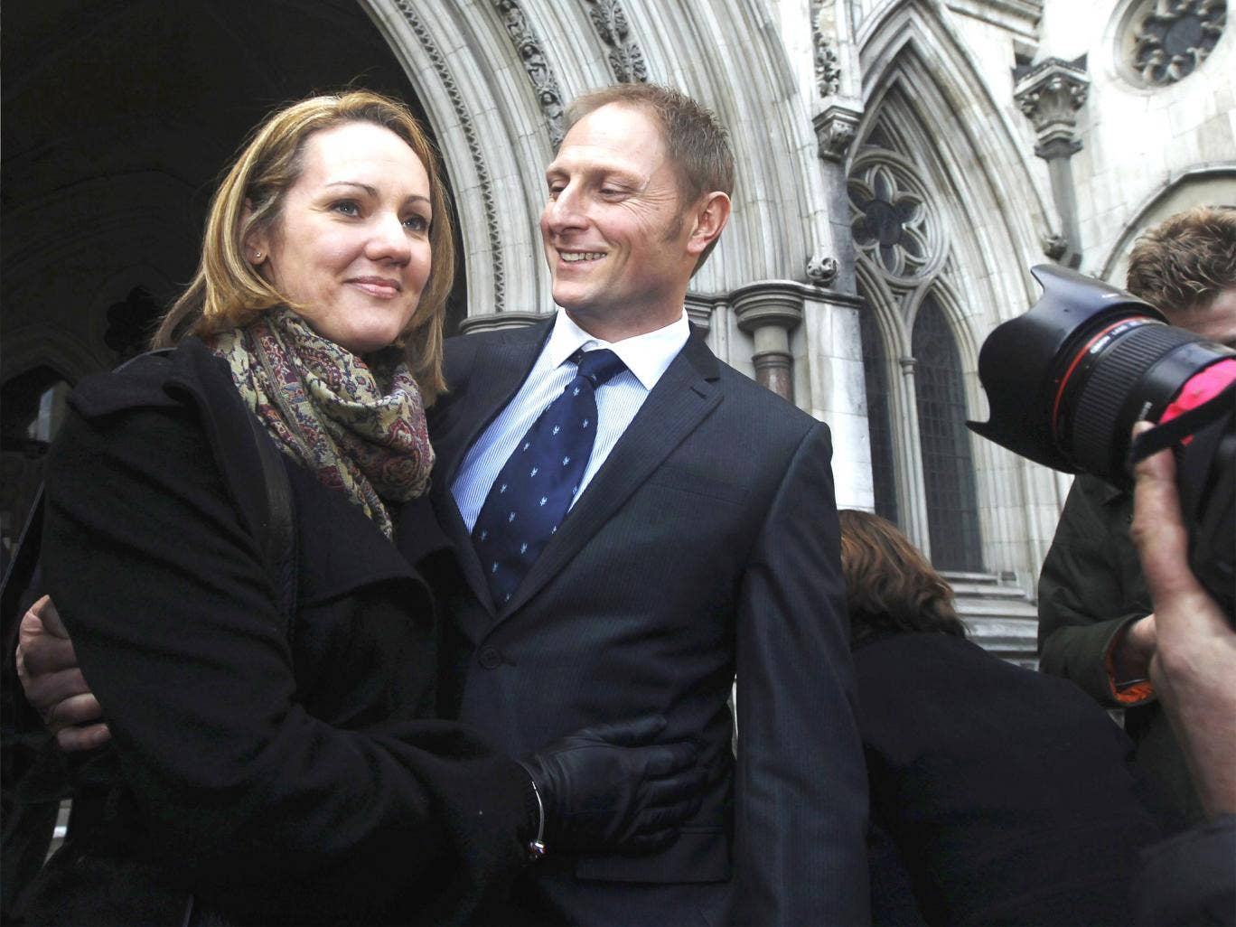 A delighted Danny Nightingale and his wife Sally leave the High Court