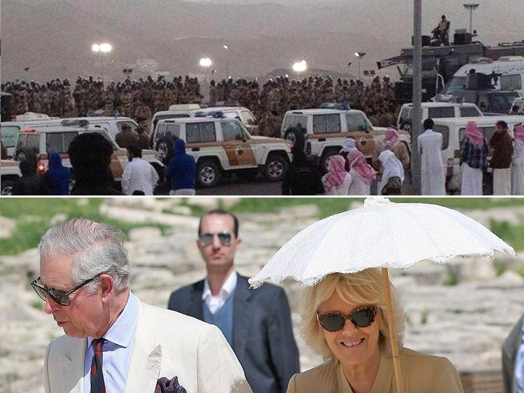 Above: photograph appears to show preparations for the execution of seven men in Saudi Arabia; Below: Prince Charles and the Duchess of Cornwall, visit the Roman ruins in Jaresh, Jordan