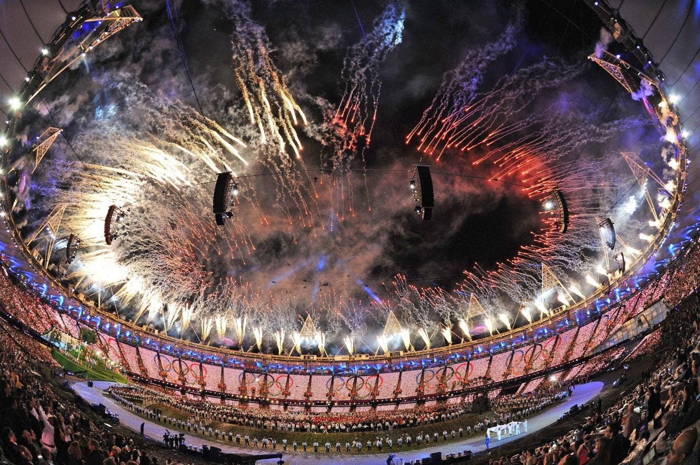 Fireworks explode from the stadium roof during the Opening Ceremony of the London 2012 Olympic Games
