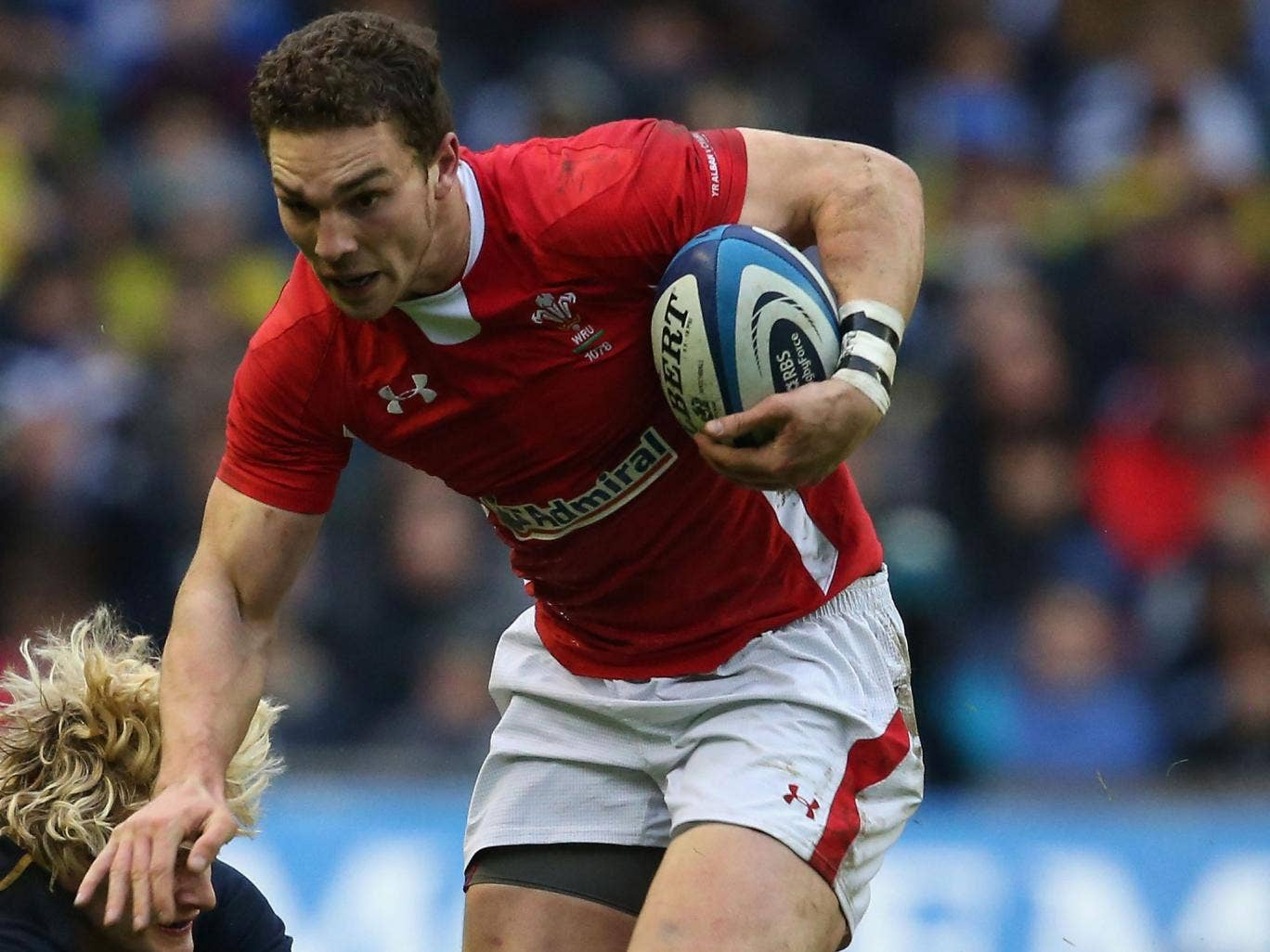 George North makes a break during Wales' win over Scotland at Murrayfield