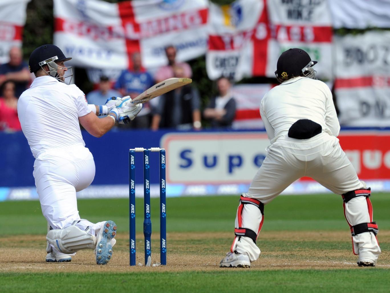 Matt Prior, left, reverse sweeps in front of New Zealand wicketkeeper BJ Watling
