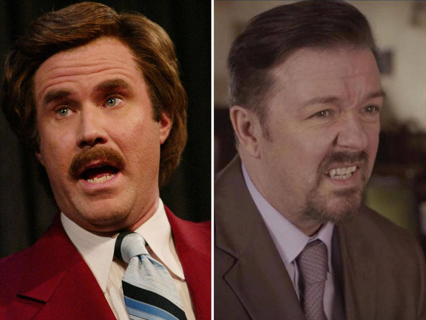 Will Ferrell will return as Ron Burgundy (left) and Ricky Gervais as David Brent (right) for tonight's Comic Relief