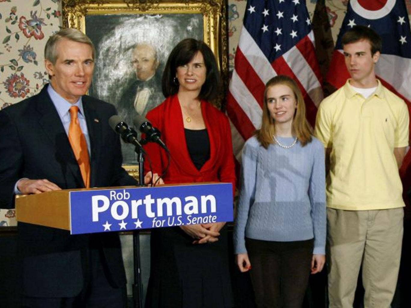 U.S. Sen. Rob Portman, from left, with his wife, Jane, daughter Sally, and son Will,