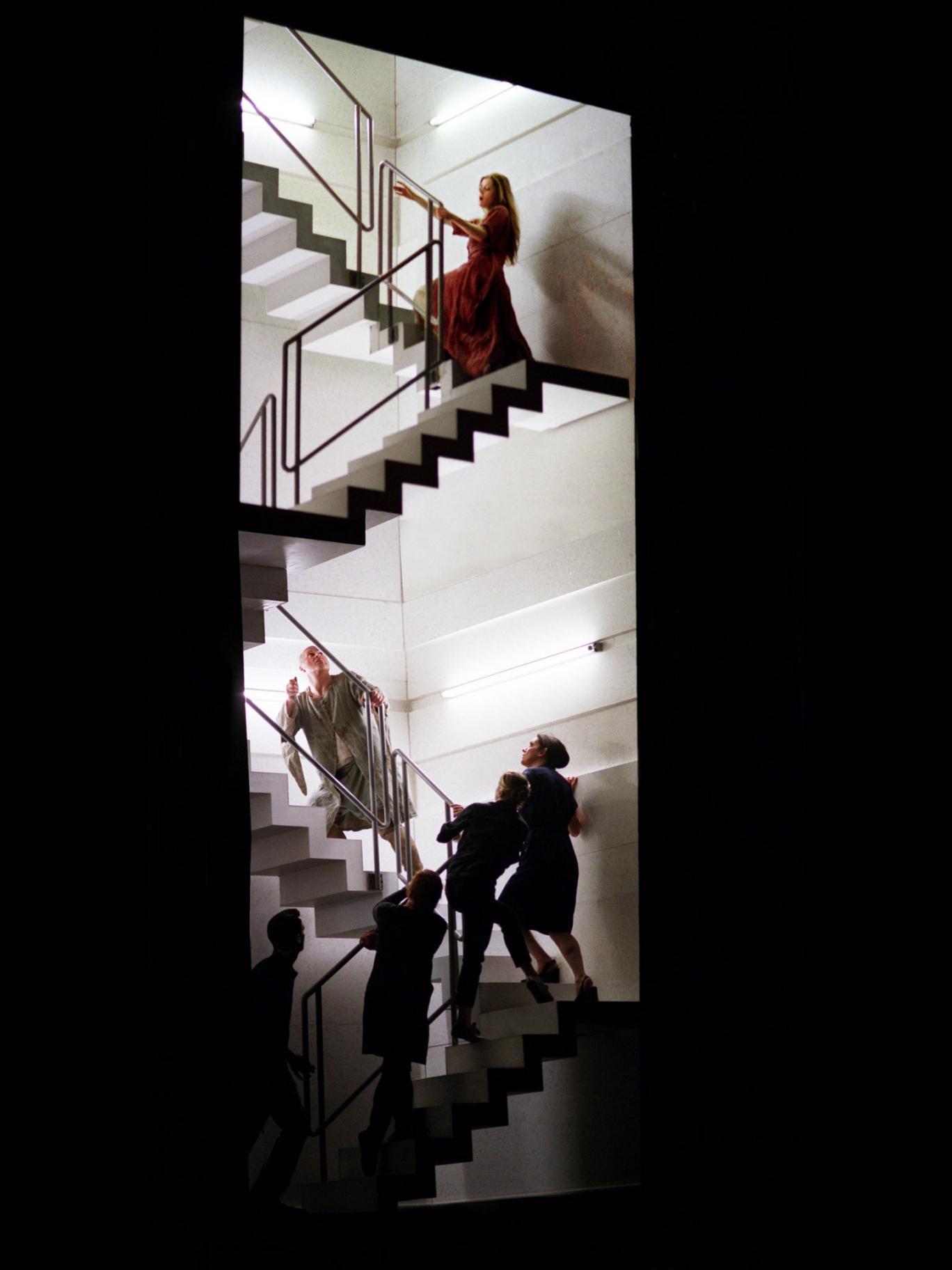 Top notch: Barbara Hannigan as Agnès climbs to her doom