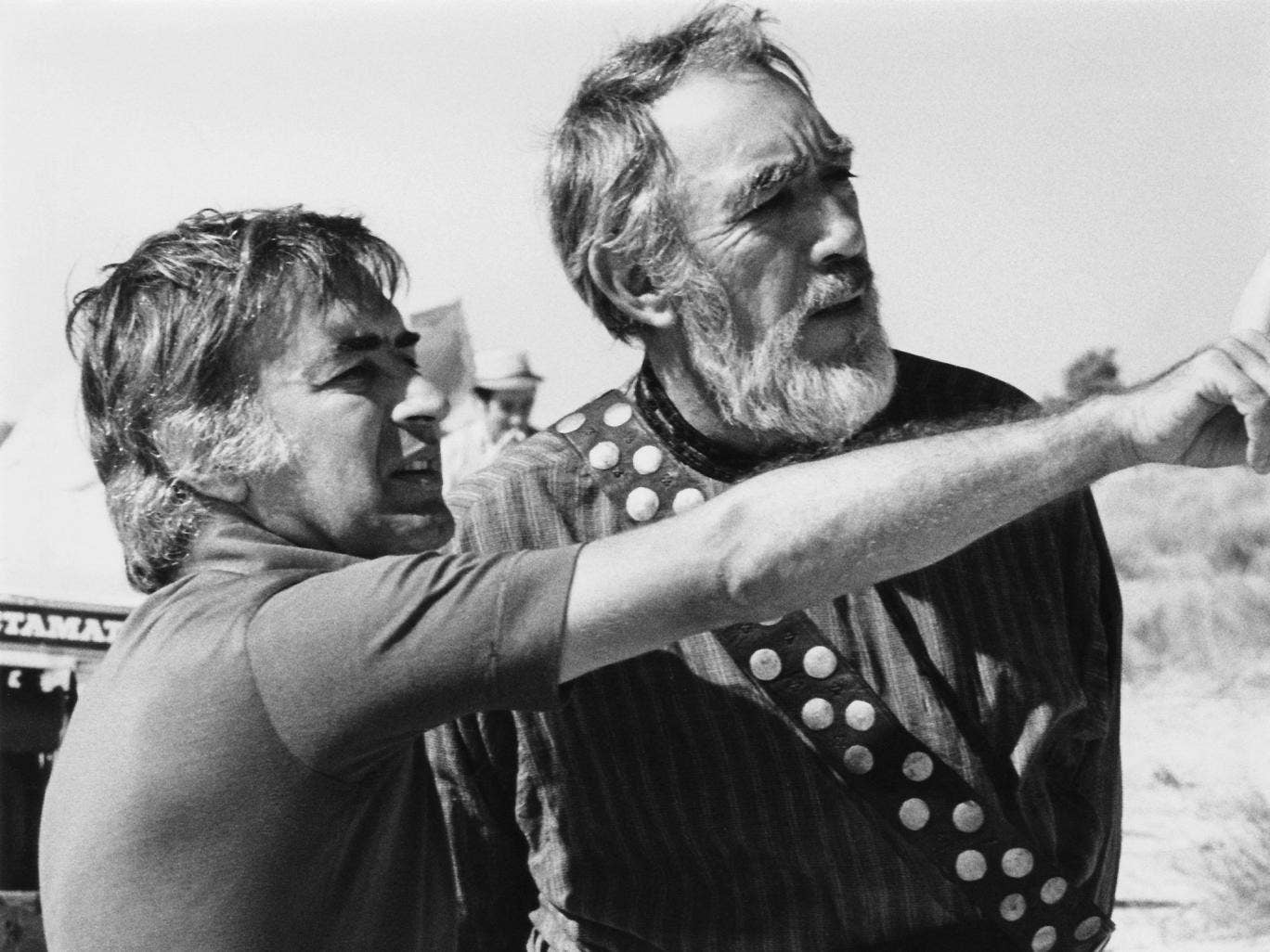 Moustapha Akkad, left, with Anthony Quinn during filming of The Message in 1976