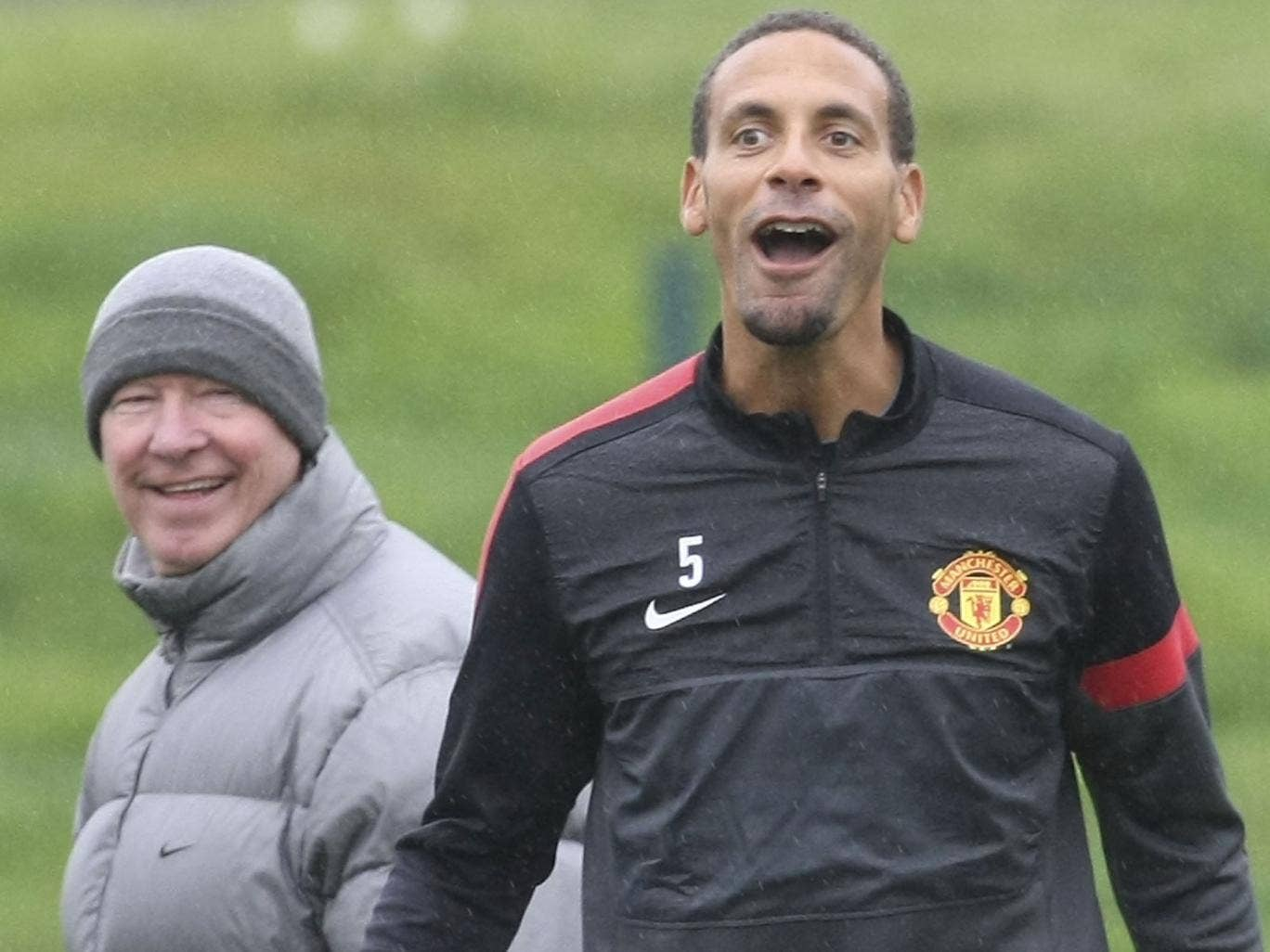 Laughing matter: Sir Alex Ferguson (left) raised concerns over Rio Ferdinand's fitness after his England recall