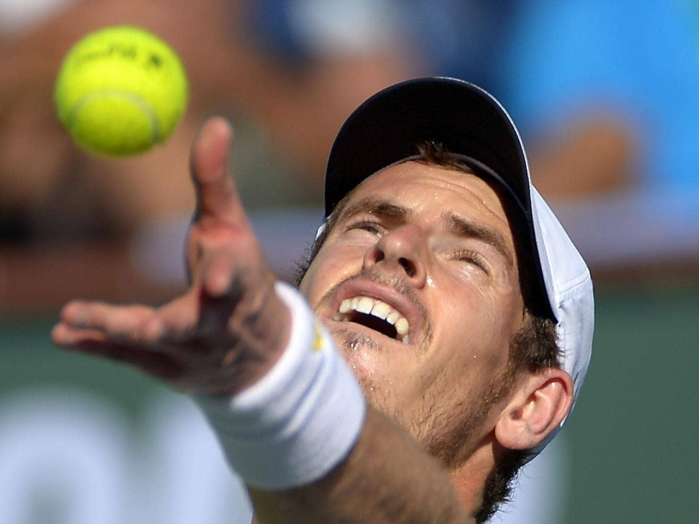 Off the ball: Andy Murray served eight double faults on his way to defeat