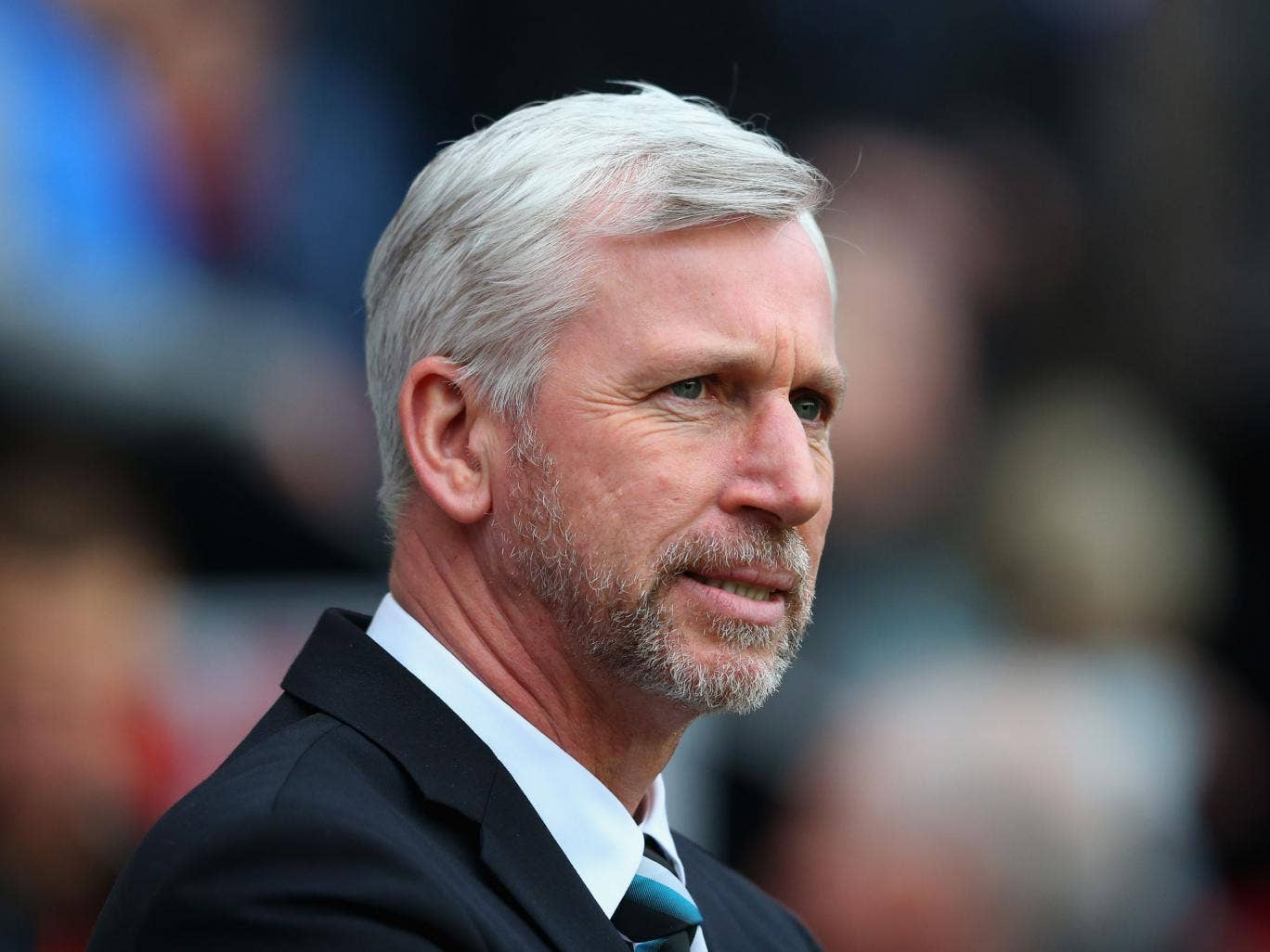 Newcastle United Manager Alan Pardew looks on prior to the Barclays Premier League match between Wigan Athletic and Newcastle United