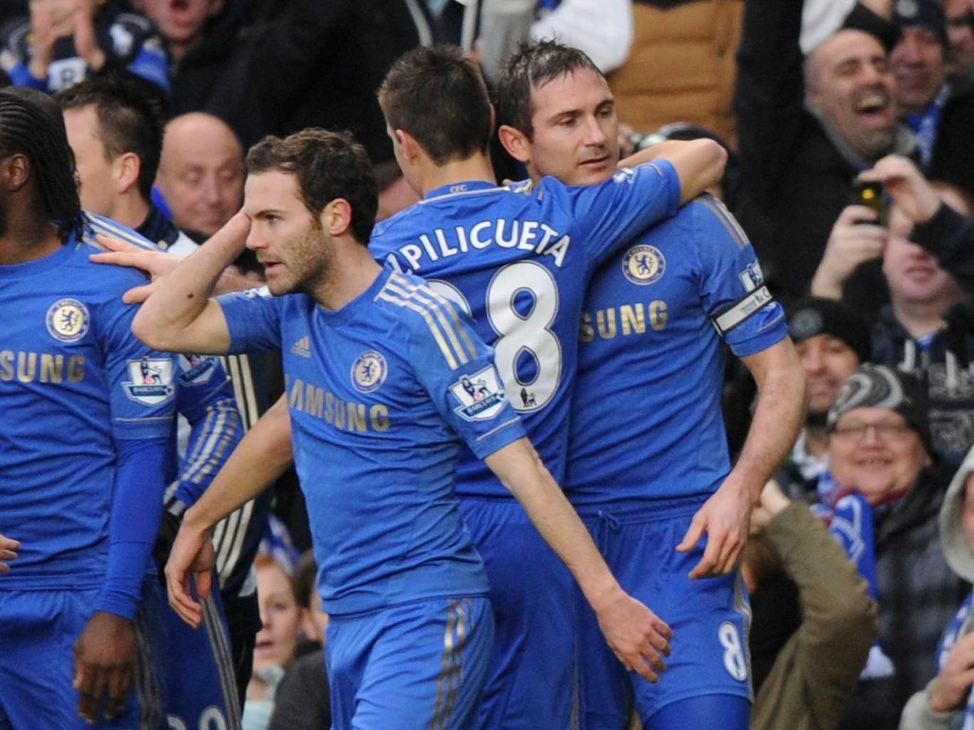 Frank Lampard celebrates his goal for Chelsea against West Ham