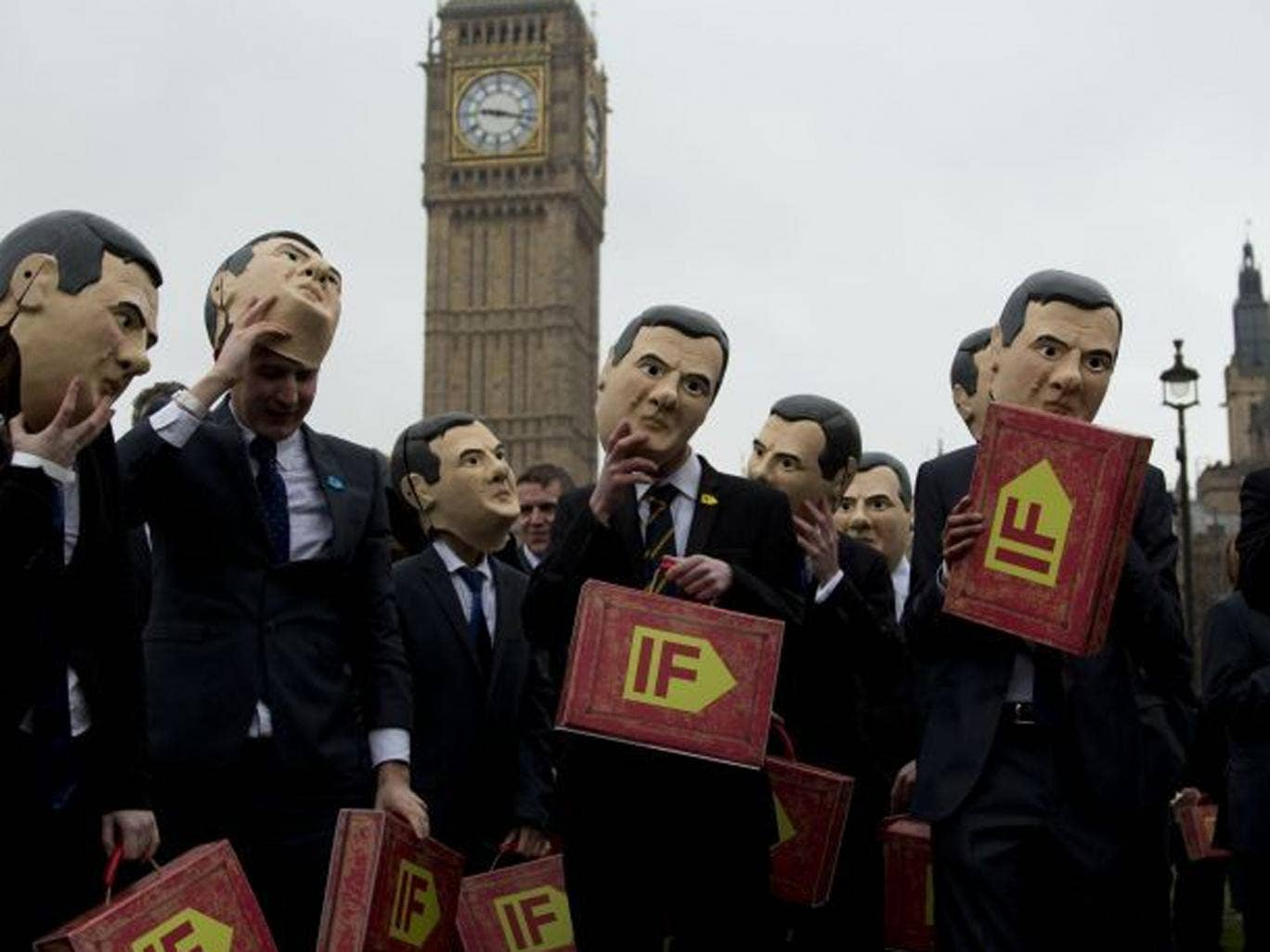 Campaigners outside Parliament today ahead of tomorrow's Budget