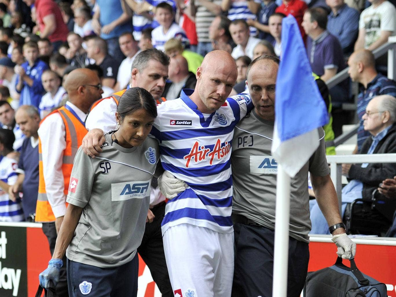 Andy Johnson pictured after sustaining an injury in September 2012