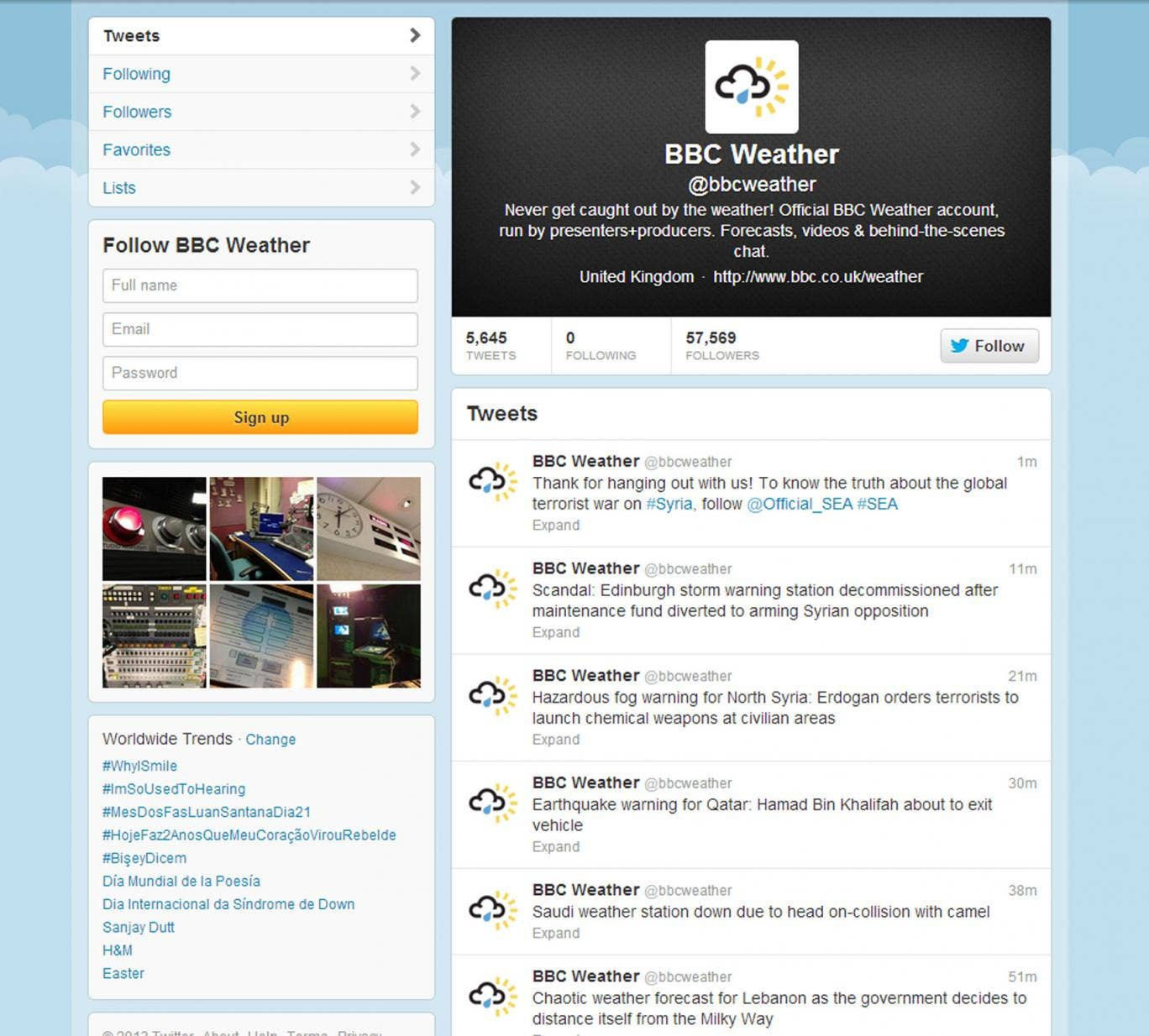 The account began tweeting uncharacteristically political messages at around 1pm GMT today.