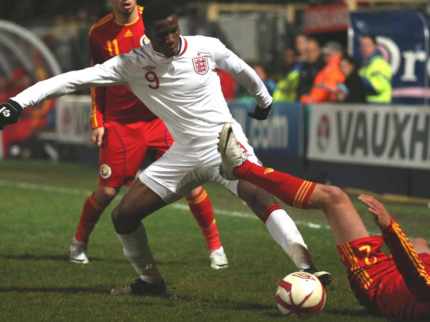 Zaha, who opened the scoring for England, steals the ball