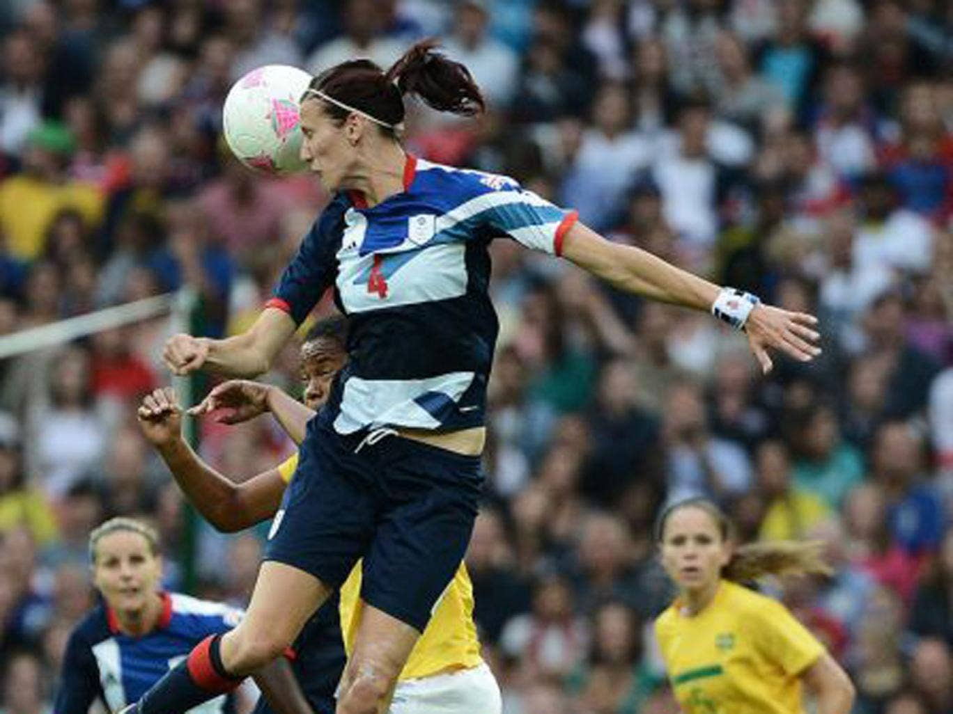 Jill Scott in action for Britiain against  Brazil during last year's Olympics