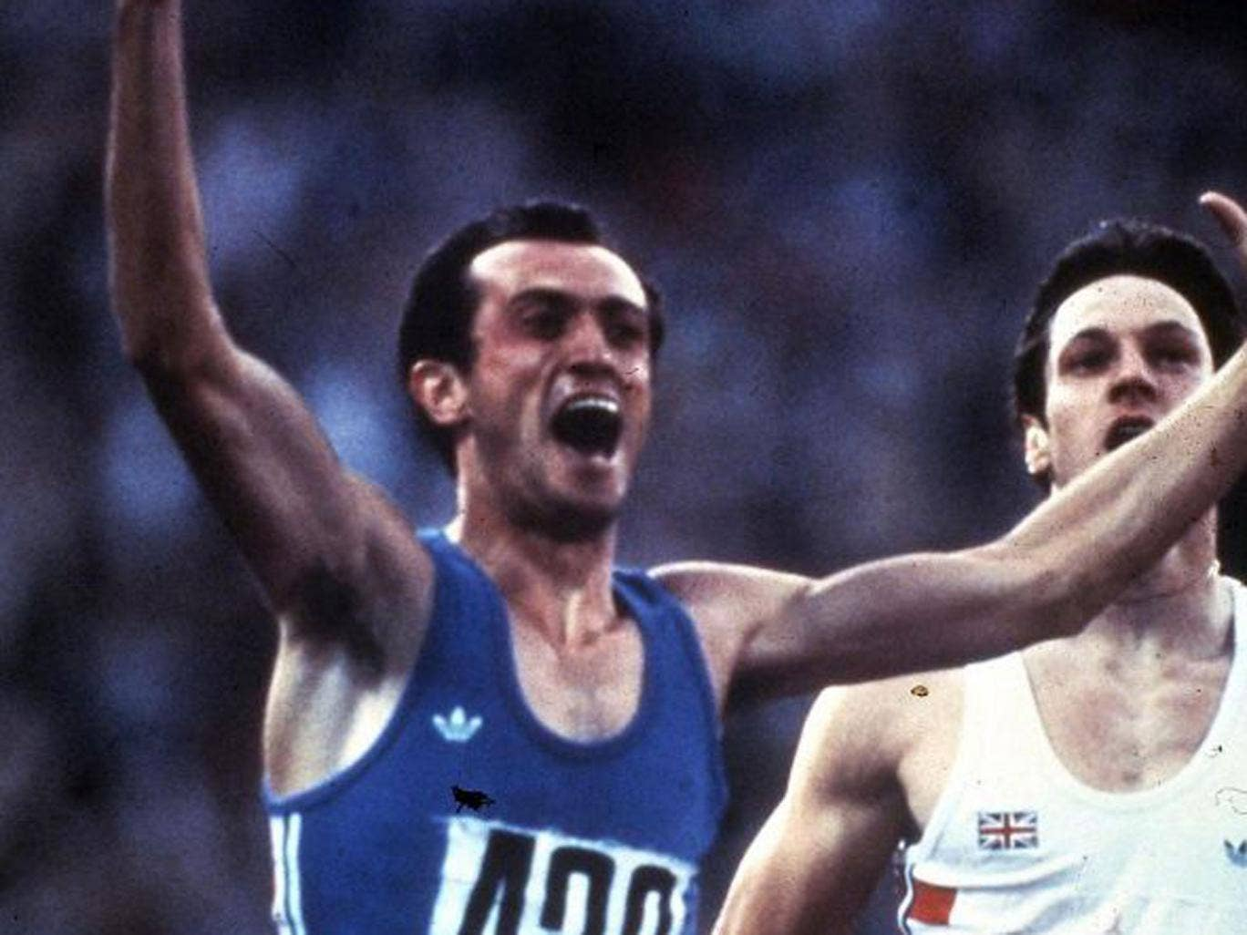 Mennea, above, crosses the line first in the Olympic 200 metres final in Moscow in 1980