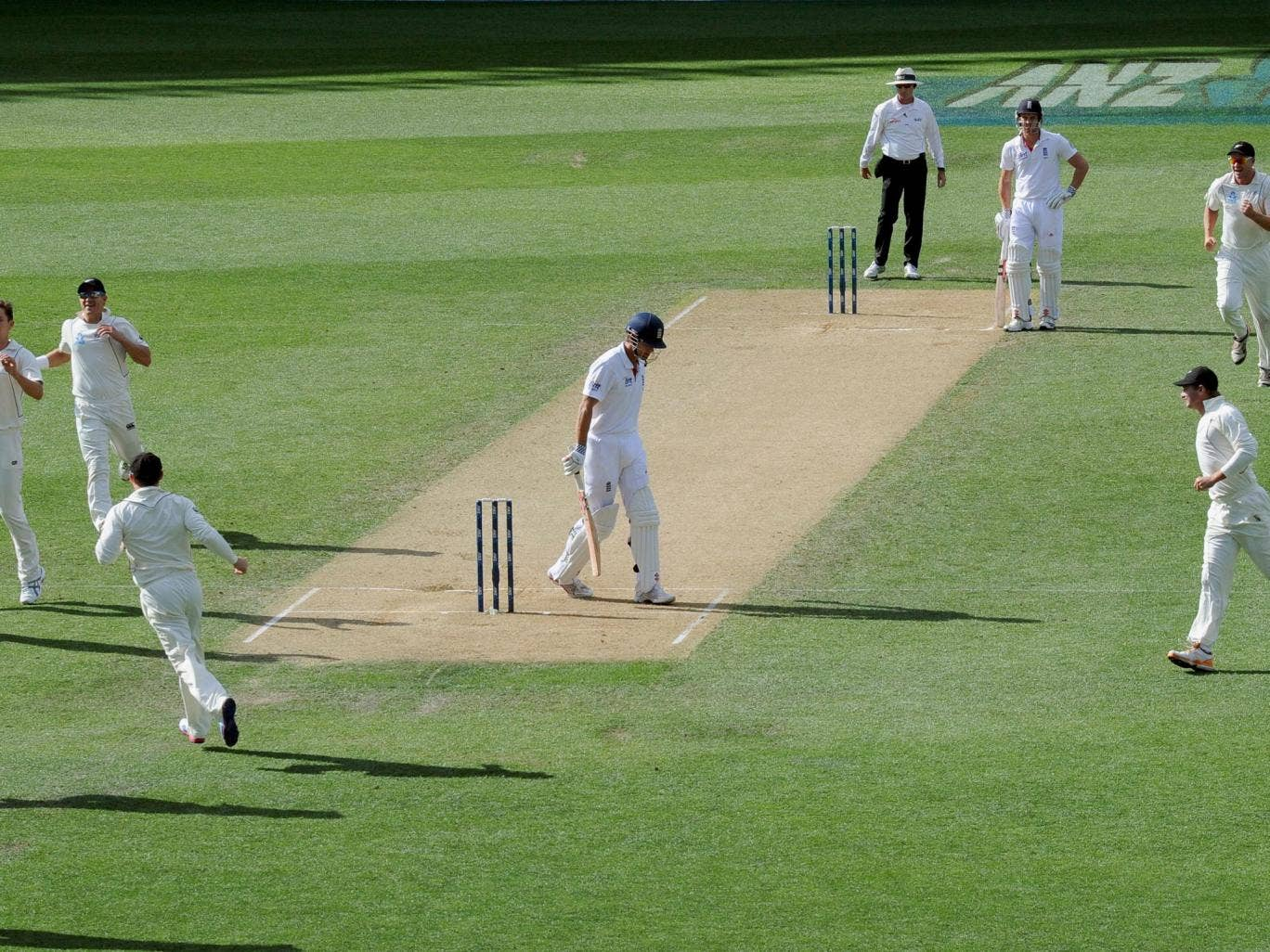 Boult from blue: England captain Alastair Cook is an early victim, caught behind off the bowling of Trent Boult