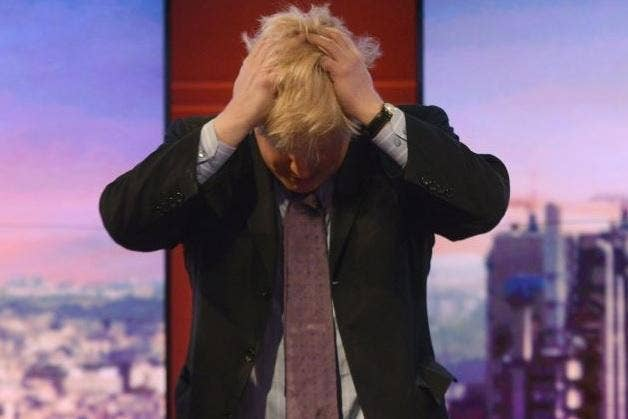 Boris Johnson seen immediately after his interview with Eddie Mair