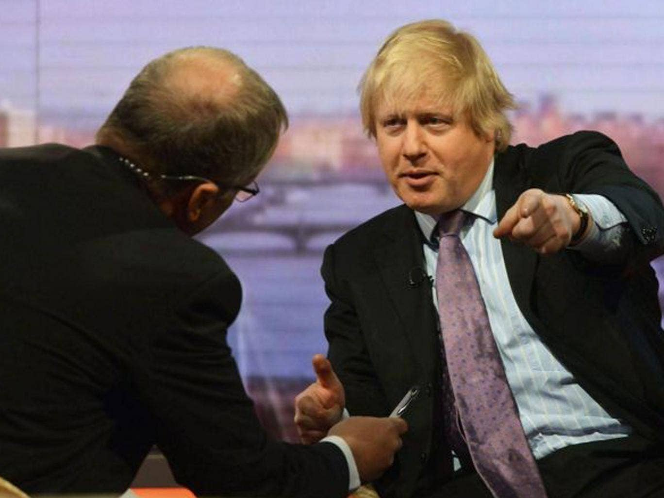 Boris Johnson (right) has lauded Eddie Mair (left) for the tough TV grilling he gave him on Sunday