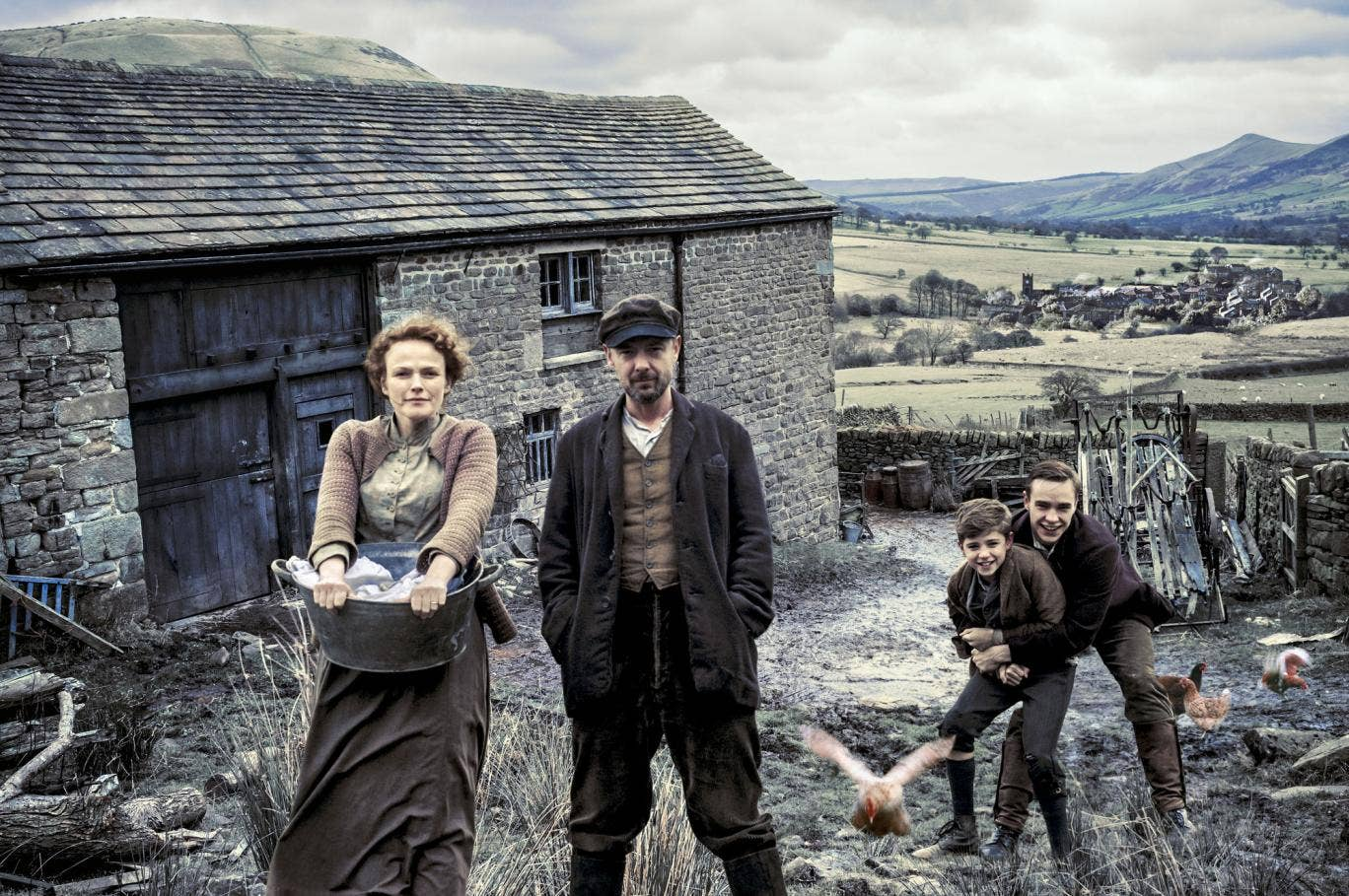 The Village: Grace (MAXINE PEAKE), John (JOHN SIMM), Young Bert (BILL JONES), Joe (NICO MIRALLEGRO)