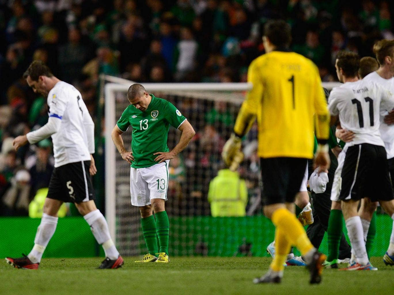 Ireland player Jonathan Walters looks dejected at the end of Ireland's 2-2 draw with Austria