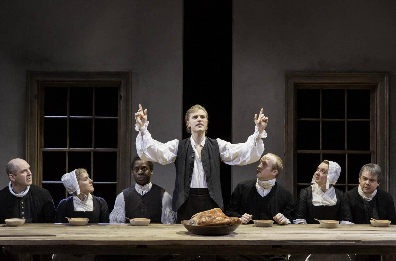 Johnny Flynn, centre, in The Low Road, Royal Court