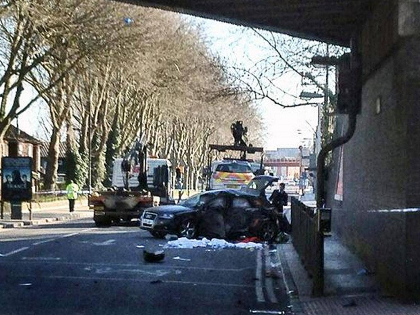 Two men have died in this crash after a police chase in north London