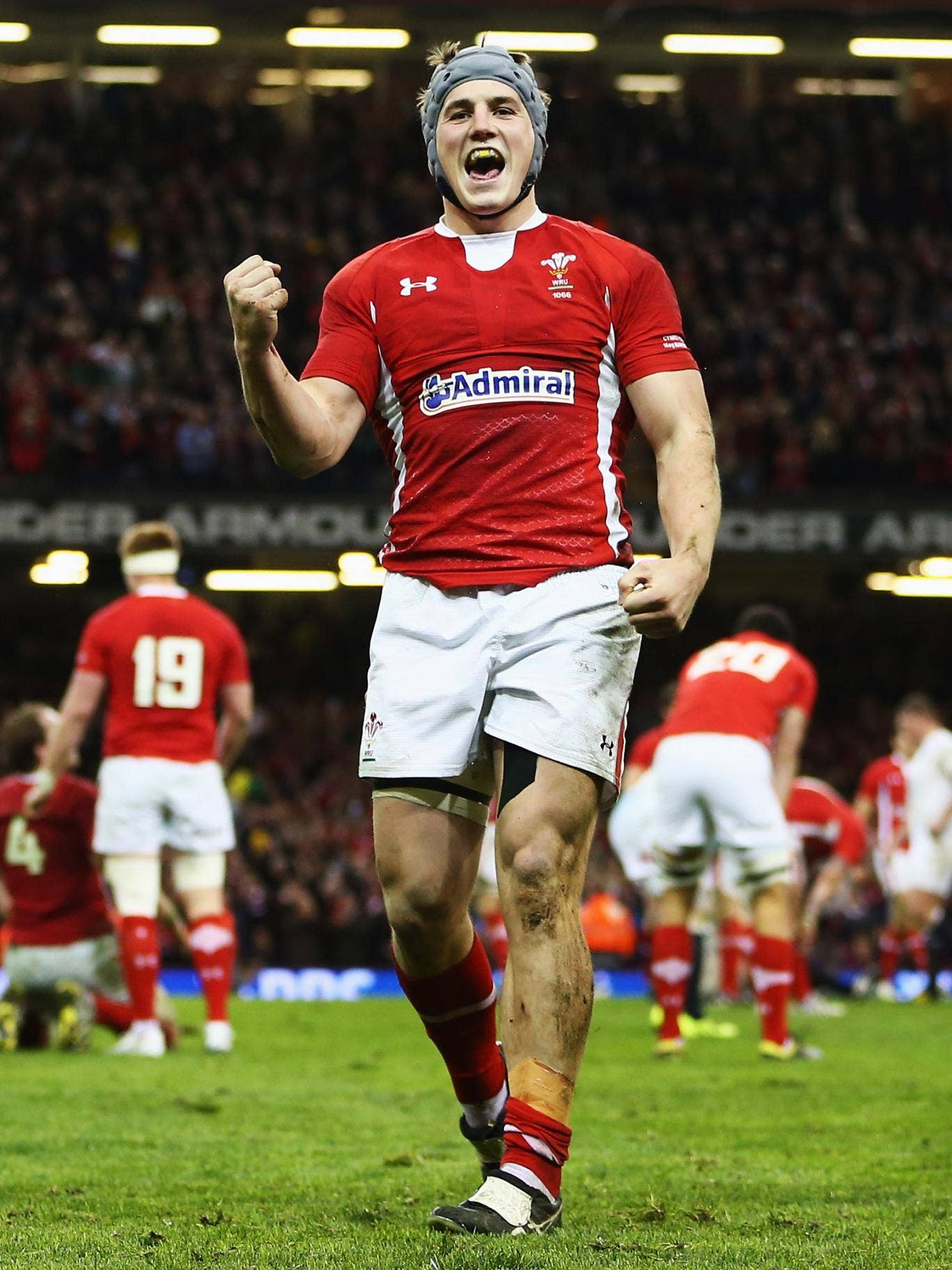 Jonathan Davies enjoys Wales' moment of victory against England at the Millennium Stadium