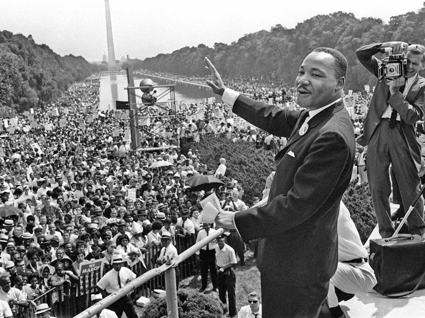 Dr King on the Mall in Washington in August 1963, at the time of his 'I Have a Dream' speech campaigning for racial equality
