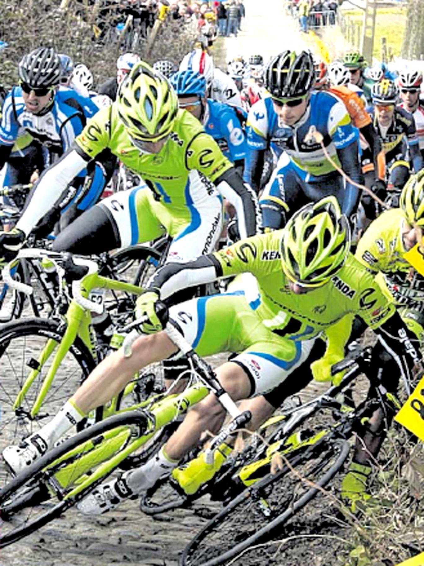 Riders become tangled up during the Tour of Flanders