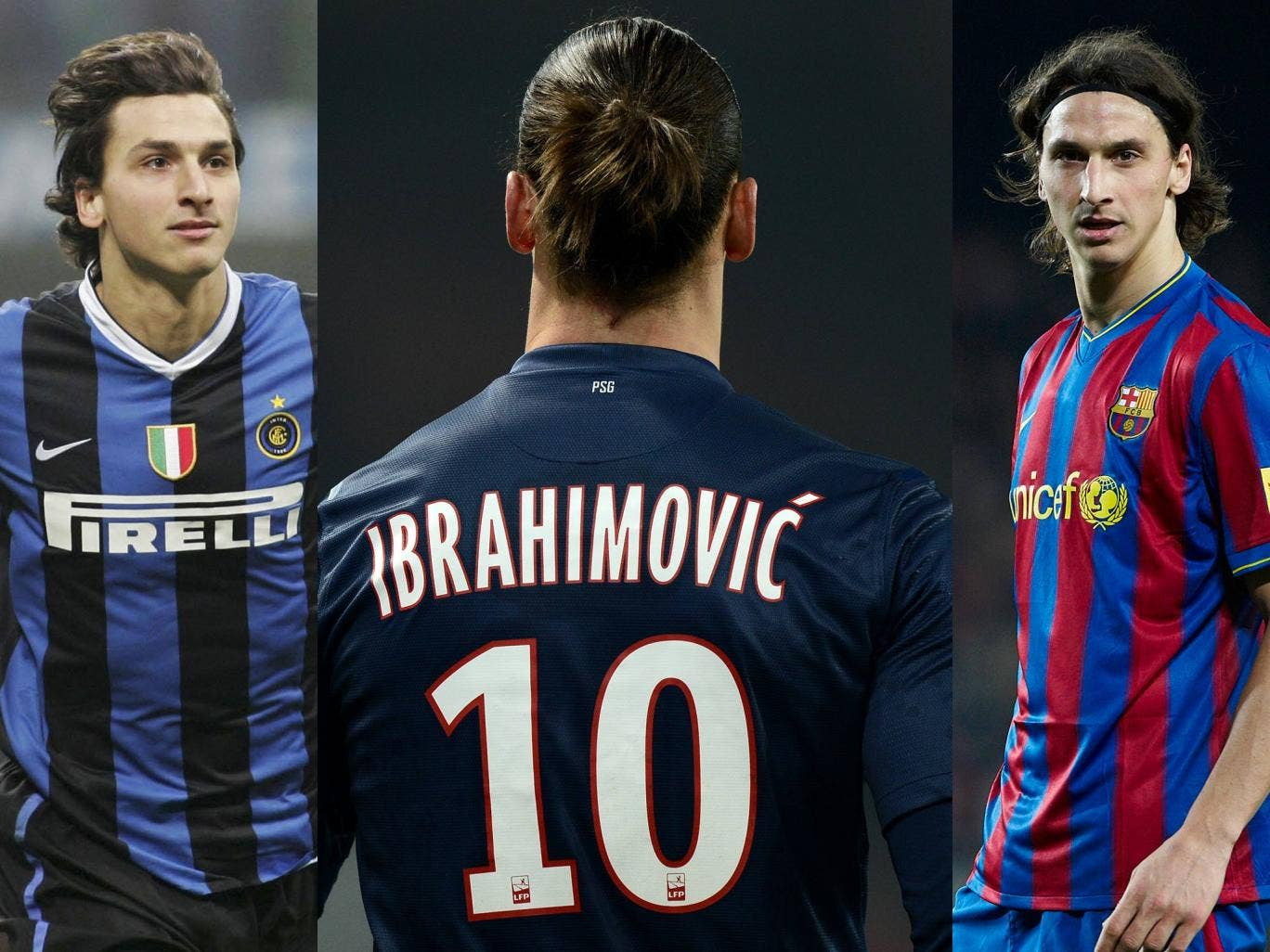 Zlatan Ibrahimovic pictured at Inter, PSG and Barcelona