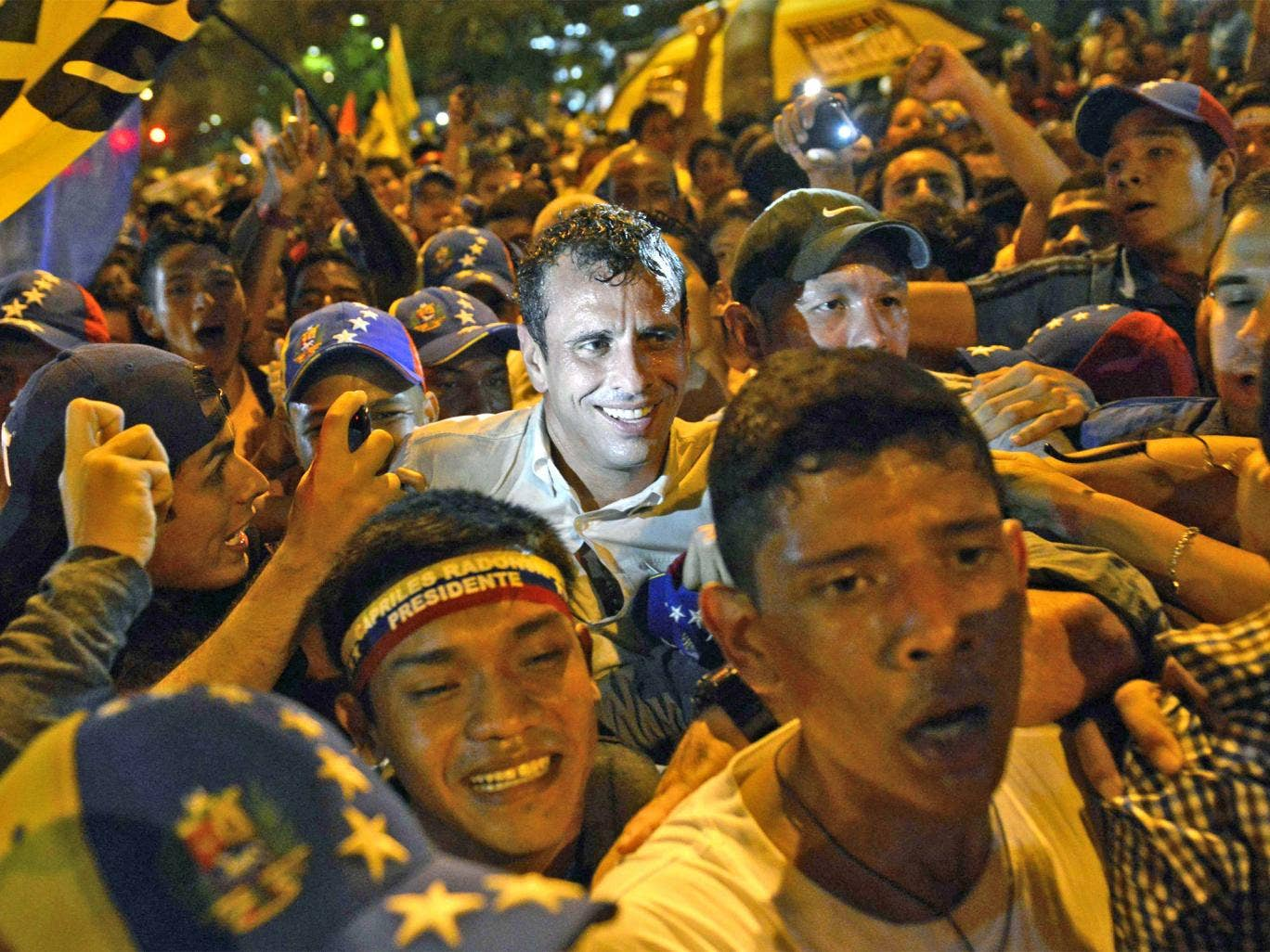 The opposition candidate Henrique Capriles at an antiviolence protest on Monday