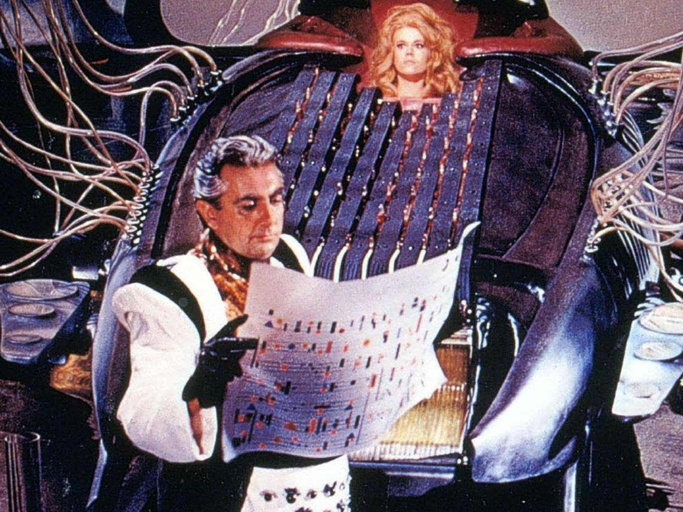O'Shea as the inventor Durand Durand, with Jane Fonda in Roger Vadim's cult classic 'Barbarella'
