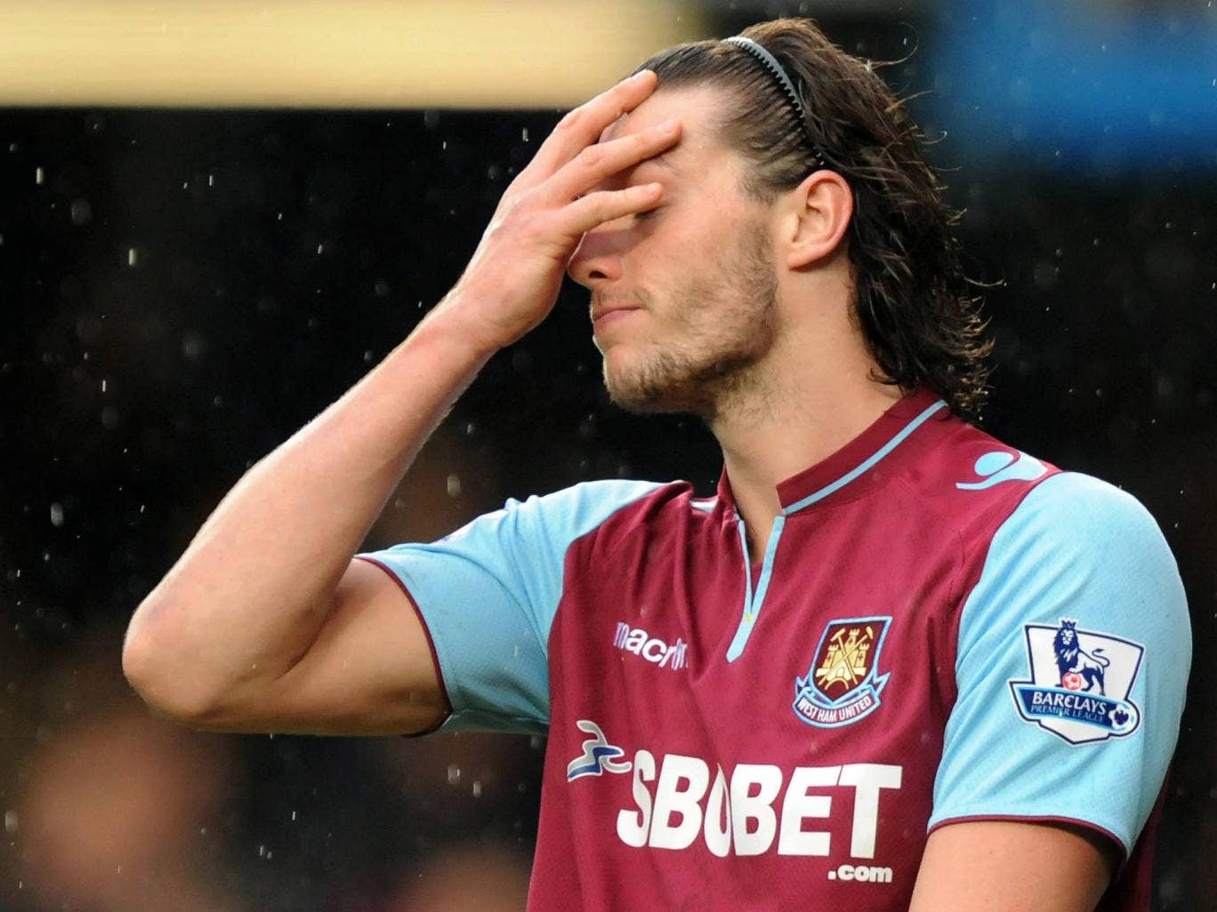 Andy Carroll pictured on loan at West Ham