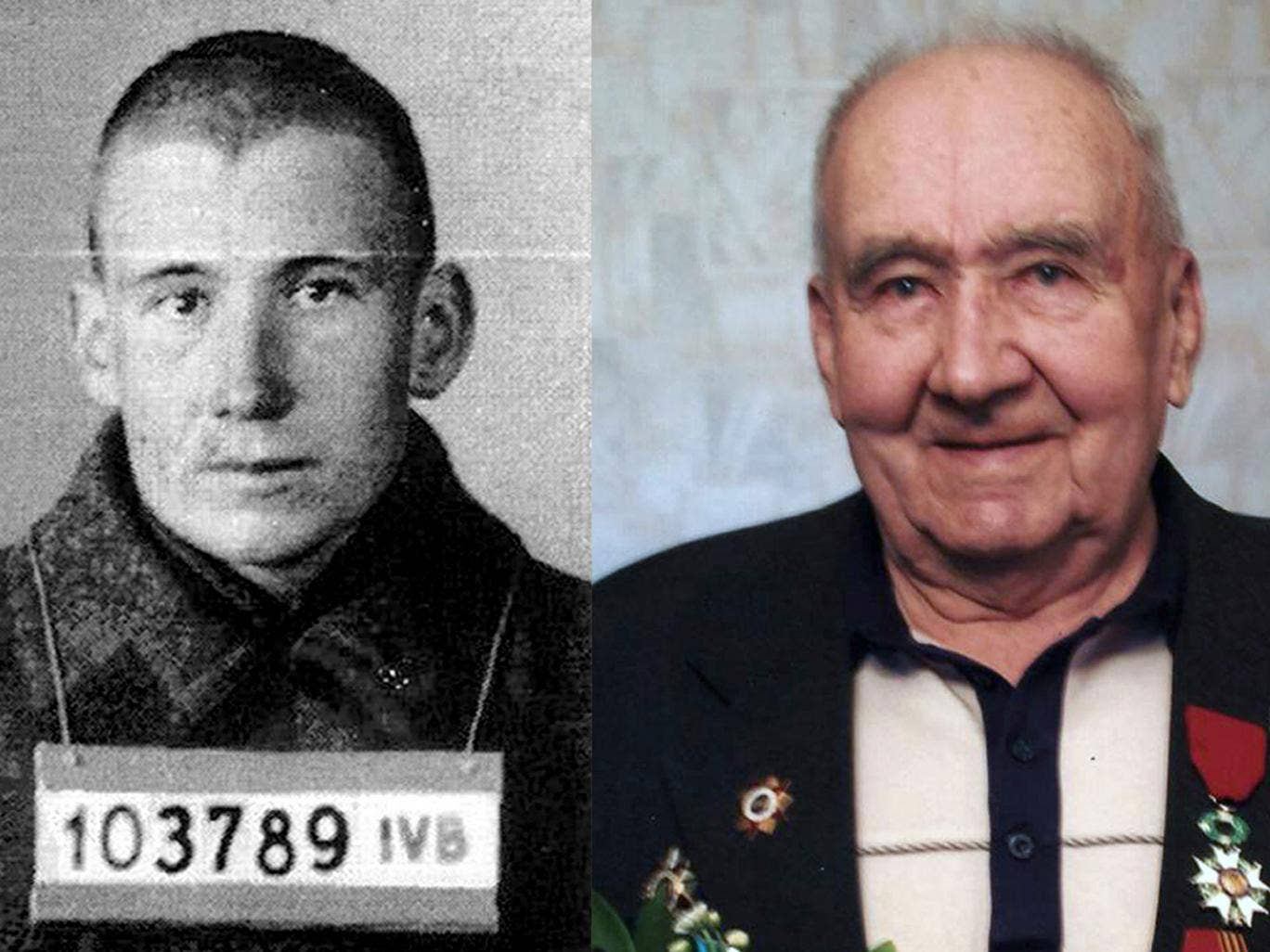 Nikolai Vasenin in 1942 during his imprisonment, and today