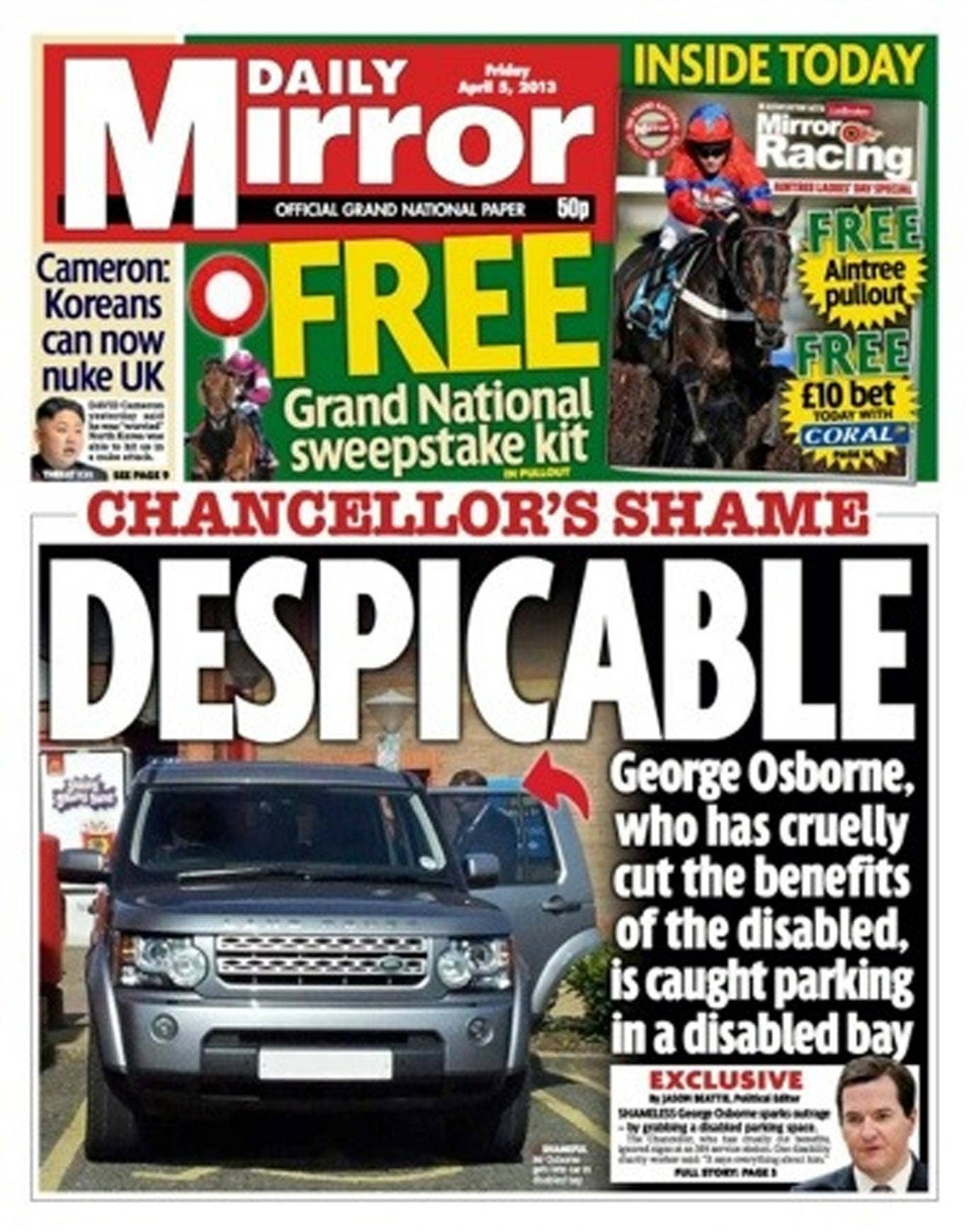 The front page of today's Mirror, showing George Osborne's car parked in a disabled bay at Magor services